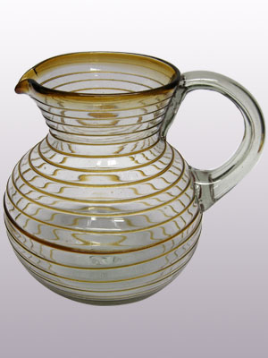 COLORED RIM GLASSWARE / 'Amber Spiral' blown glass pitcher